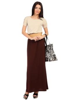 Коричневое длинное платье Mondigo