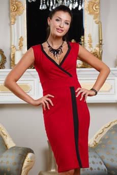 Красное платье с декольте Angela Ricci со скидкой