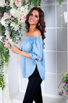 Блузка из тонкой джинсы с открытыми плечами Angela Ricci