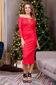 Облегающее красное платье RUXARA