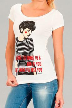Белая футболка из 100% хлопка Девушка Blend